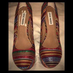 Multicolored Steve Madden Platform Wedge Shoes
